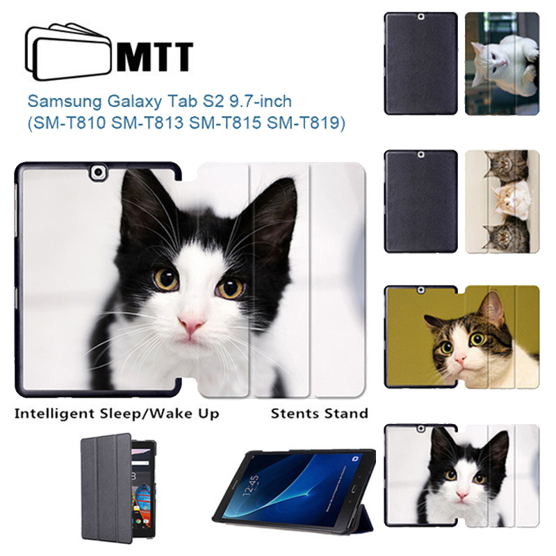 MTT Cute Kitty Leather Case For Samsung Galaxy Tab S2 9.7 T813 T819 2 Flip Stand Tablet Cover for Samsung Tab S2 9.7 T810 T815 цена