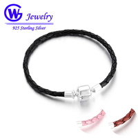 High Quality 925 Sterling Silver Clip Leather Bracelet For Women Chain Fit European Charm Beads Diy