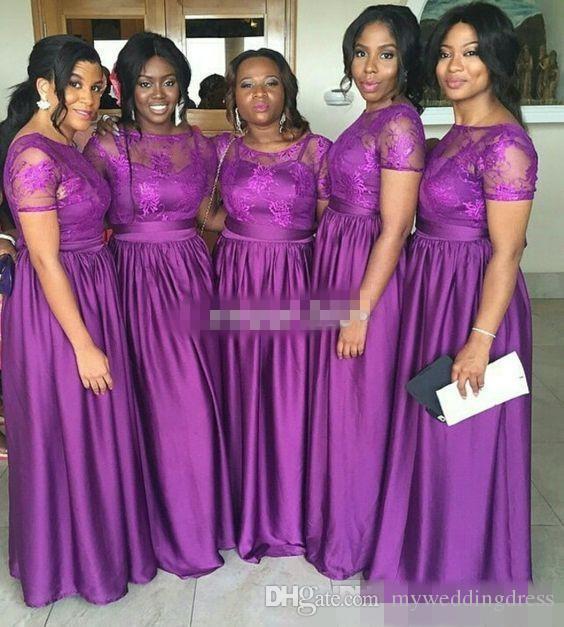 Nigerian Wedding Bridesmaids: Nigerian Bridesmaid Dresses Purple Lace Short Sleeves Plus