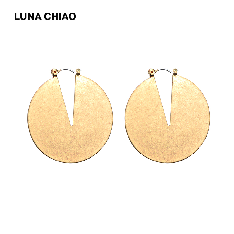 LUNA CHIAO Worn Gold Silver Plated Cooper Big Round Earring Geometric Disc Earrings for Women Statement Earring ...