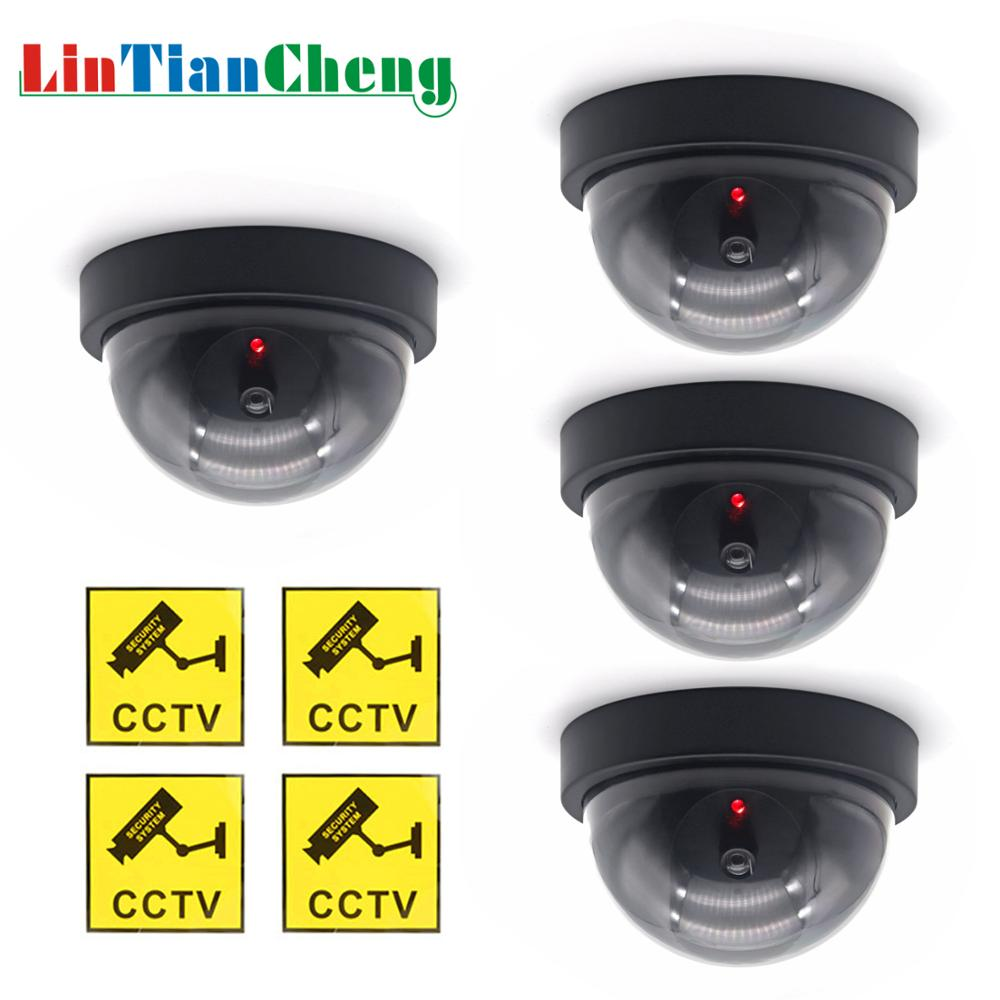 LINTIANCHENG 4pcs Dummy Camera Dome Outdoor With LED Light Imitation Security Fake Ip Camera CCTV  Street Surveillance Dummy Cam