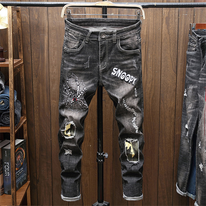 New Fashion High Street Men Jeans Pants Embroidery Ripped Hole Skinny Slim Straight Frayed Skinny Jeans Men Denim Trousers in Jeans from Men 39 s Clothing