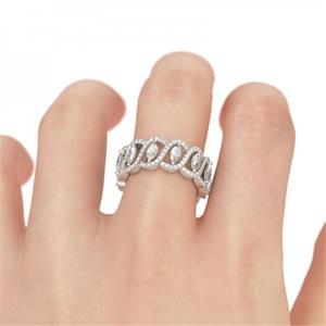 Image 4 - Vecalon Sexy promesse fleur anneau 925 en argent sterling 5A Zircon Cz fiançailles bague de mariage anneaux pour femmes hommes bijoux meilleur cadeau