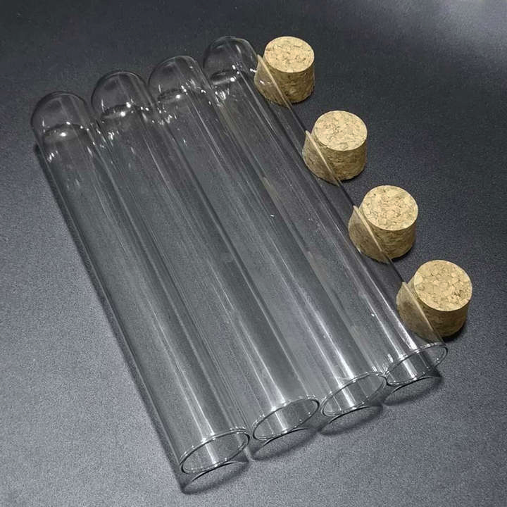 10pcs lot 30x300mm Transparent Glass Round Bottom Test Tubes with cork stopper for Laboratory Glassware