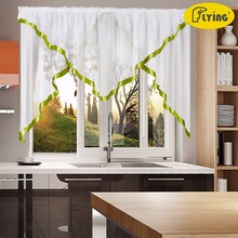 Tulle Pleated Voile Triangular Design Fabric for Bedroom Window and Kitchen Pastoral design Solid Curtain with