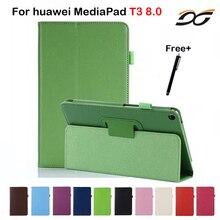 Caso de Cuero de LA PU Para Huawei MediaPad T3 8.0 KOB-L09 KOB-W09 Tablet Soporte de la Caja Protectora para Huawei Honor Juego Pad 2 8.0 pulgadas