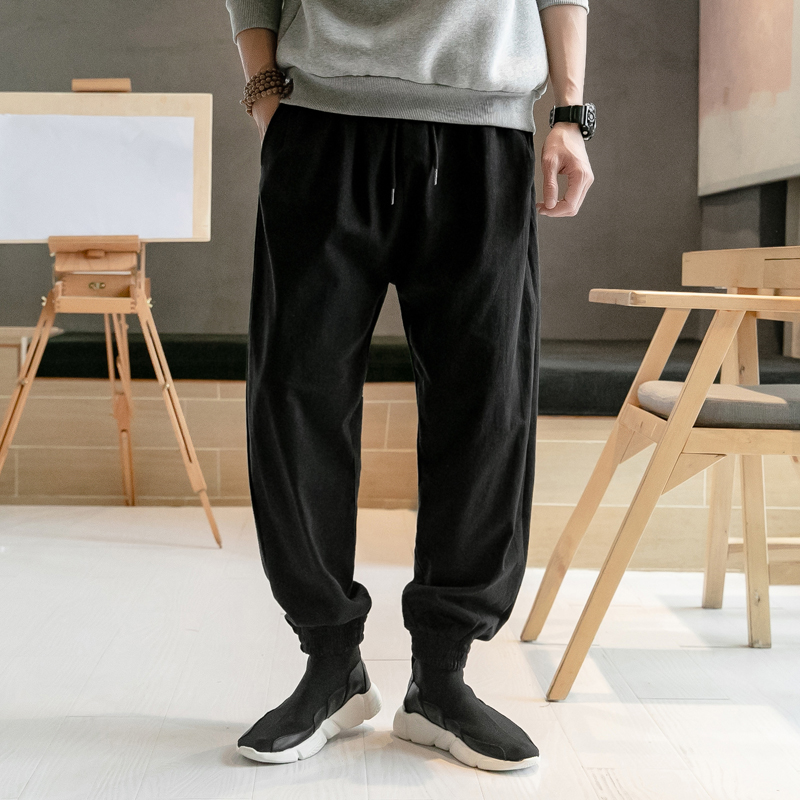 Trousers Men Sweatpants Chinese-Style Harem Fashion Joggers Loose Cotton Linen Male Plus-Size