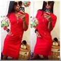 Womens Dresses 2016 V Neck 3/4 Sleeve Zipper Sheath Sexy&Club Dress Red Black Wine red Autumn Female Dress Plus size