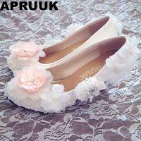 Высокая свадебные туфли на каблуке с сладкий розовый белый Цветы Свадебные туфли-лодочки обувь с круглым носком платформы каблуке ручной р...