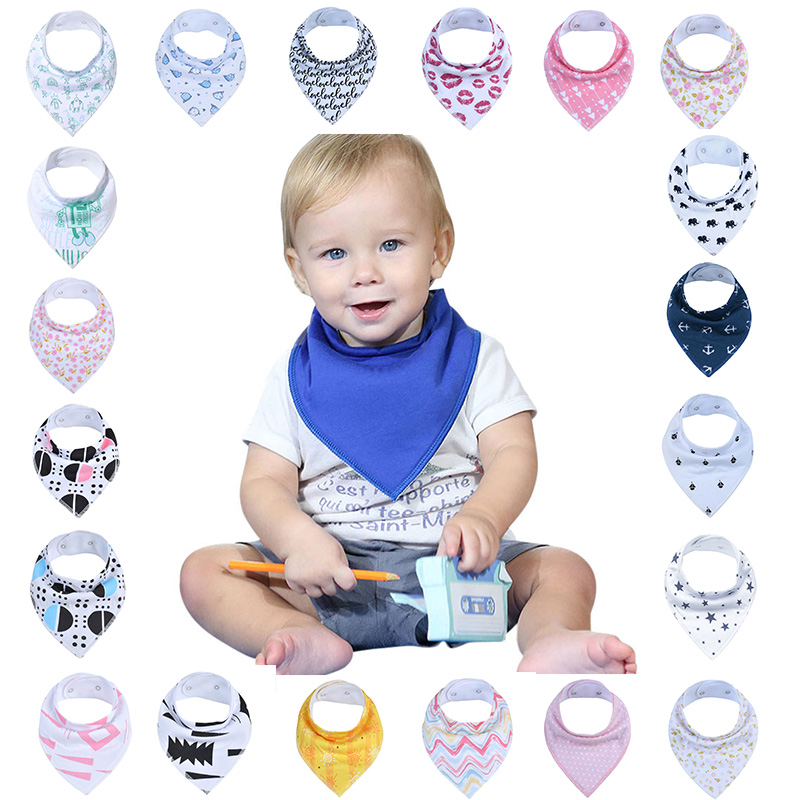 2Pcs Unisex Baby Bandana Drool Bibs Adjustable Snaps Bibs For Drooling&Teething 100% Cotton Newborn Bibs Useful Baby Accessories(China)