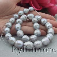 11 12mm Natural Gray Freshwater Pearl Rice Loose Beads Strand 14