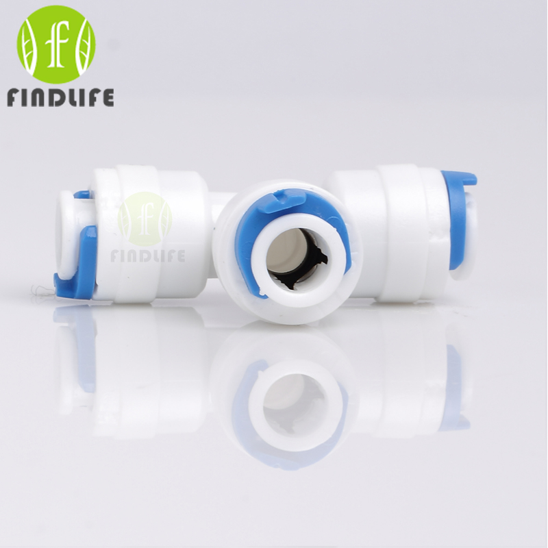 Water Filter Parts 2 pcs 1/4O.D Tube 3-way Union Tee  Quick Connect Push Fit RO Water purifier  Reverse Osmosis machine 702