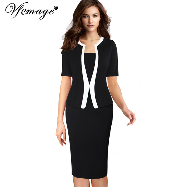 4a506d4a64f Vfemage Womens Vintage Faux Jacket One-Piece Colorblock Contrast Wear To  Work Office Business Vestidos Bodycon Sheath Dress 9051
