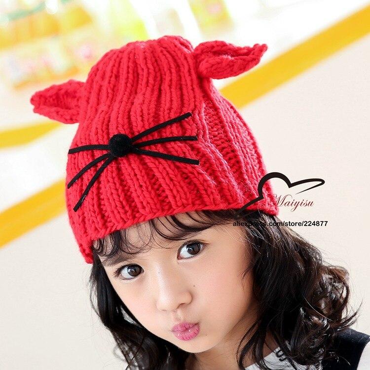 912fcb50995e Mignon Chat Oreille Chapeau Nouvelle Mode Fille Chapeau Hippie D hiver  bonnets Chat Chapeau Tricoté Enfant ...