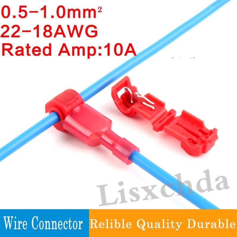 60pcs T Shape 10a 22 18awg Wire Cable Connectors Terminals