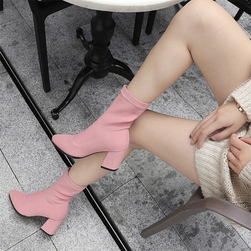 marrón Mid Calcetines Negro Alta Fiesta Botas Stretch Otoño Fedonas Zapatos De Básicas Noche Nuevas Tacón Mujeres Y Club Botines rosado Alto Mujer Damas calf qIwfEB1Hp