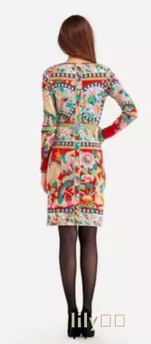The new women s fashion mandarin duck printing slim beautiful stretch knitted dress