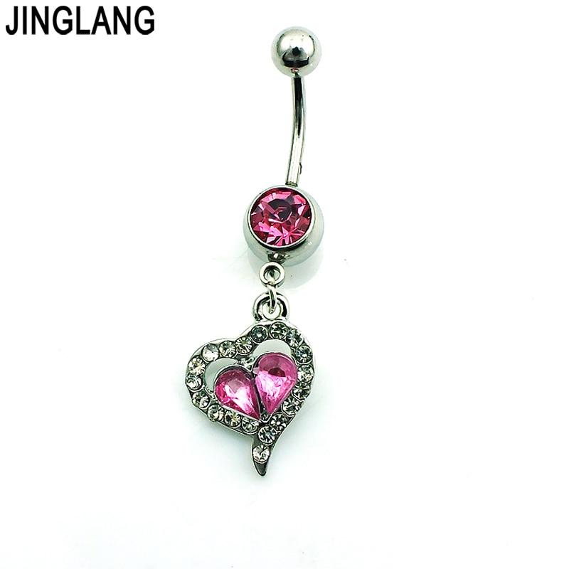 138061b5a4da Jinglang a estrenar del botón de vientre de la manera Anillos Acero  inoxidable Barbell cristalino rosado del corazón joyería piercing del  ombligo