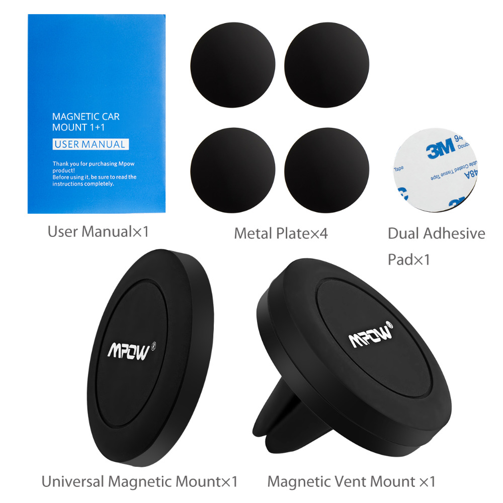 Buy Mpow 2pcs Mini Magnet Car Mount Holder Strong Original Premium Mcm8 Grip Magic Air Vent Magnetic Attraction Mobile For All 4inch 6inch Phone Ipadmetel Devices From