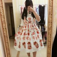 2017 Japanese Lolita Soft Girl Cute Temporary Parking Italian Food Pasta Pattern Bow Dress Wj493 Free