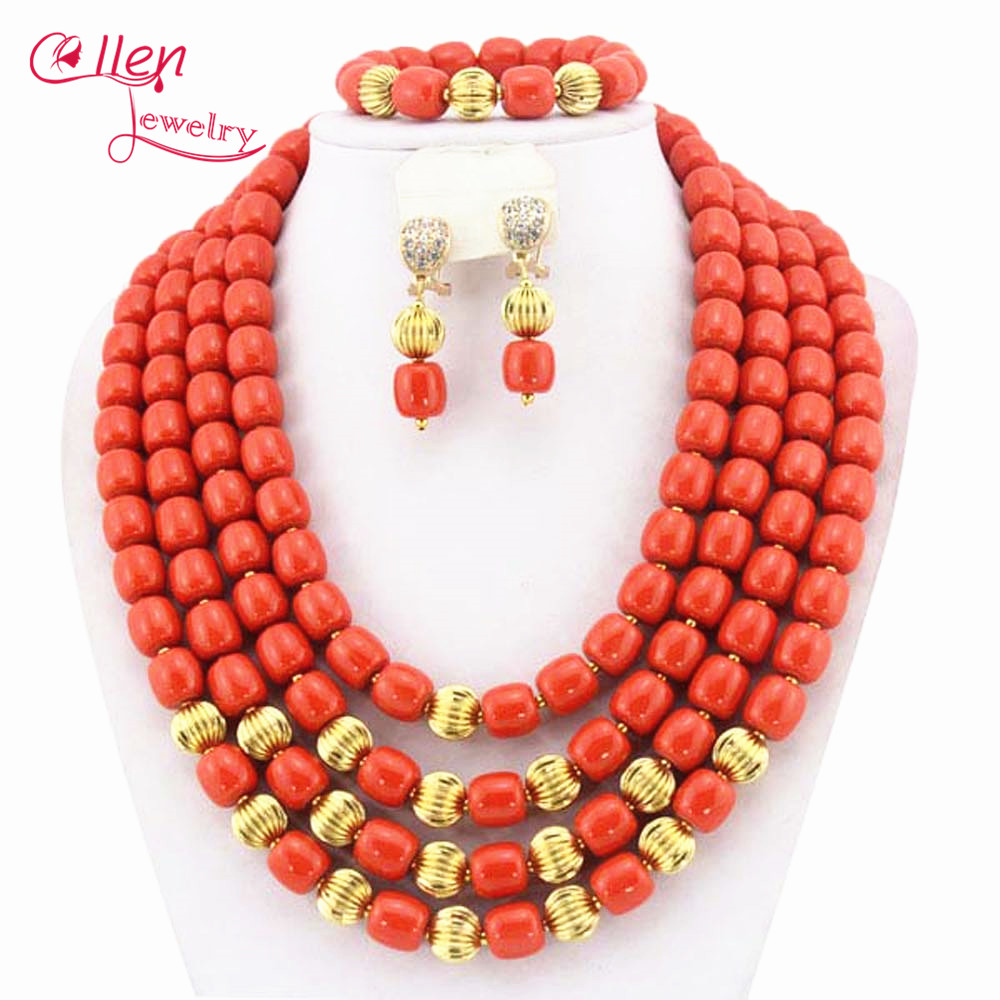 Orange African Coral Jewelry Set Coral Beads Necklace Set Nigerian African Wedding Beads Jewelry Set WS3090