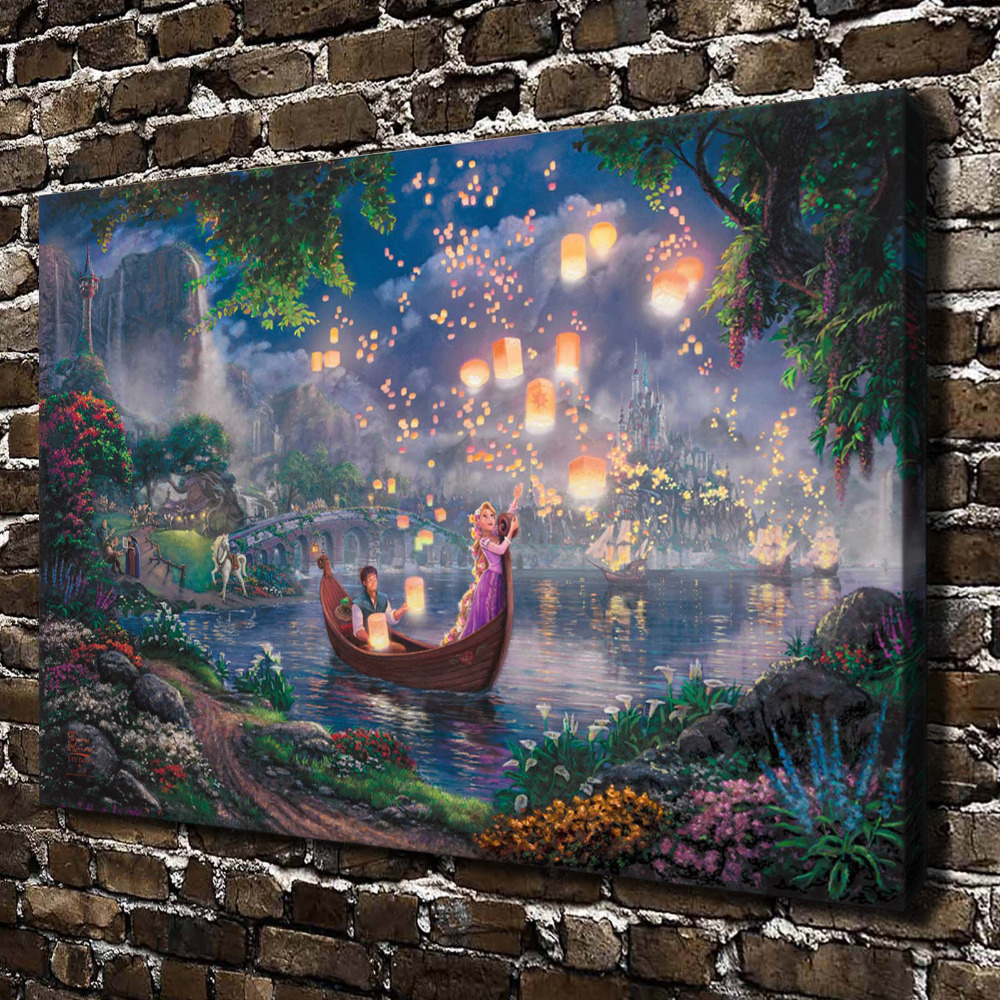 H1208 Thomas Kinkade Tangled, HD Canvas Print Home decoration Living Room bedroom Wall  pictures Art Cartoon animation painting