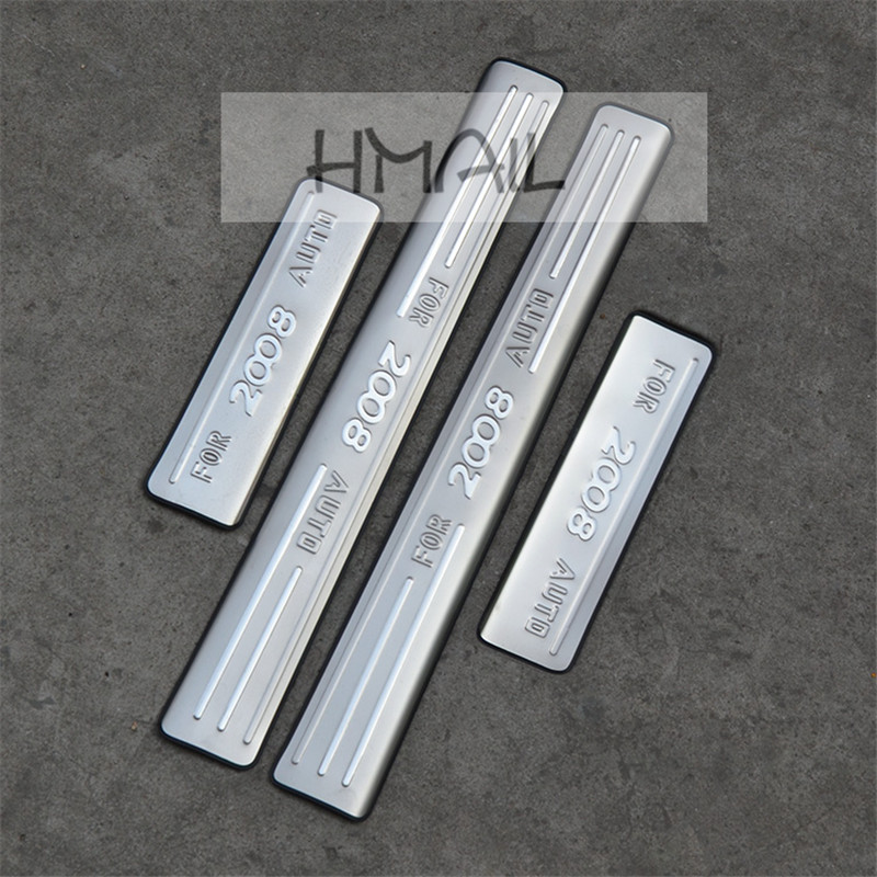 Stainless steel door sill strip for 2014-17 PEUGEOT 2008 Threshold trim car styling welcome pedal Scuff plate cover film sticker image