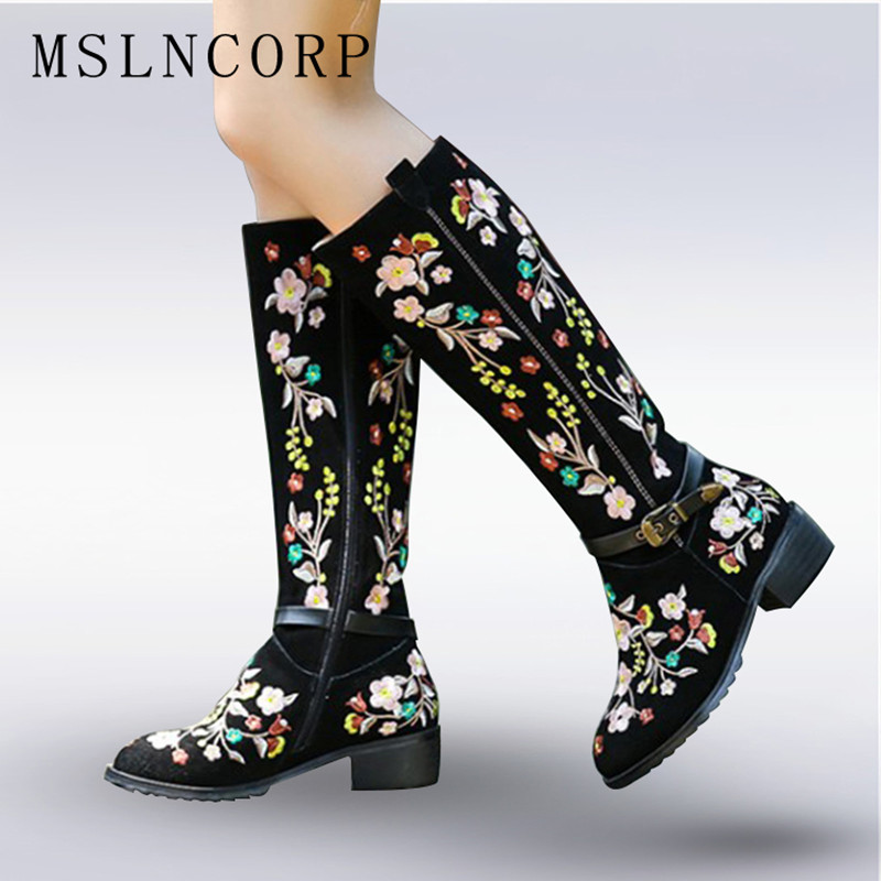 Plus Size 34-46 Genuine Leather Women Boots Spring Autumn Bohemia ethnic style Snow Boots Embroider Shoes Zip Mid Calf Boots ethnic style fringe and criss cross design mid calf boots for women