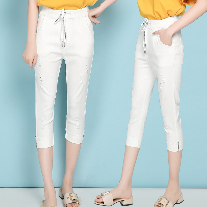 summer vintage hole ripped women's   pants     capris   with high waist pencil   pants   for women trousers woman   pants   female Plus size 6XL