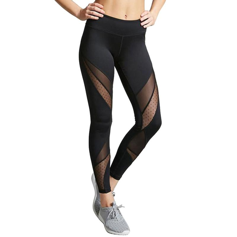 Hot Women Leggings Gothic Insert Mesh Design Trousers Pants High-waisted Big Size Black Capris Sportswear New Fitness Leggings