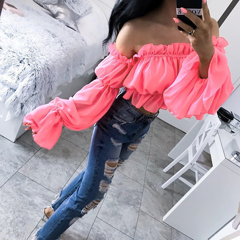 2019 Off Shoulder Sexy Women Blouse Ruffle Ruched Neon Top Summer Long Sleeve Beach Bikini Covers Up