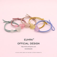 EUHRA 5 Colors Shape Heart Cute Jelly Love Bead For Girls Women Elastic Hair Bands Kid Children Rubber High Elasticity