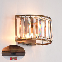 Crystal Wall Lamp Bronze Wrought Iron Wall Lamp with Switch LED Wall Lamps Bedroom Lights  K9 Lights  Wall Lights for Home