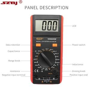 Image 4 - SZBJ medidor LCD Digital VC6243A, probador de resistencia de capacitancia, multímetro, pinza de cocodrilo, herramienta de medición con bolsa BM4070