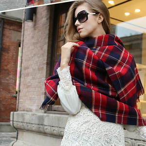 Image 4 - [FEILEDIS]Women Cashmere Scarves  Long Wraps Scarf Autumn Scarf England Classic Plaid Scarve