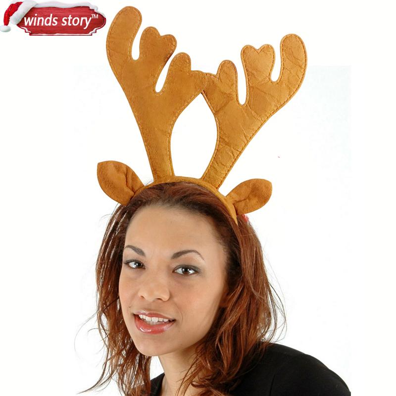 unids novedad navidad renos astas venda festiva fiesta de disfraces sombrero de navidad mujeres nios