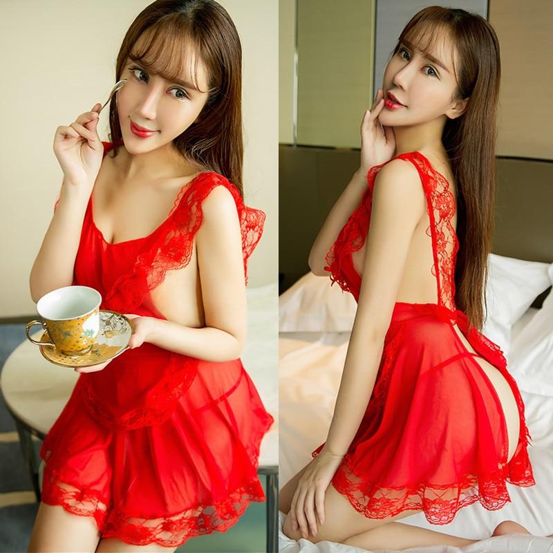 Slips women red pink maid intimates underwear hot full slips