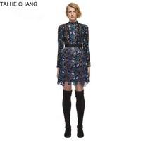 High End Self Portrait Style Autumn 2017 Women S Fashion Runway Retro Mini Long Sleeve Lace