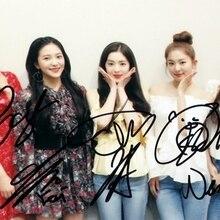Подпись красный бархат с автографом групповое фото K-POP 4*6 082018