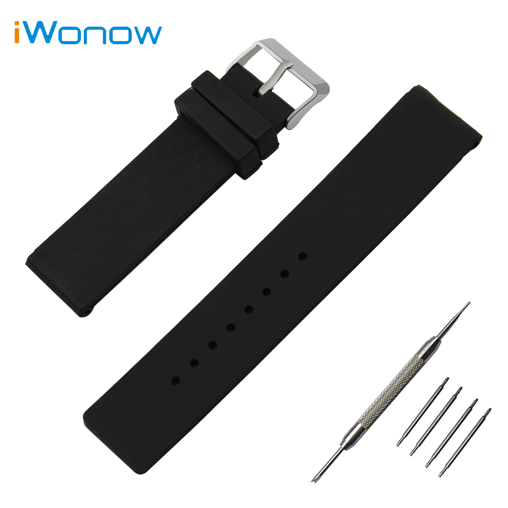 Silicone Rubber Watch Band 24mm for Suunto TRAVERSE Stainless Pin Buckle Strap Wrist Belt Bracelet Black White + Spring Bar умные часы suunto traverse white