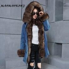 2017 long denim winter jacket thick parkas natural real fox fur collar font b coat b