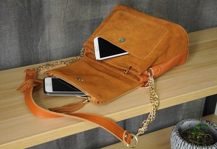 Women Genuine Leather Fringe Shoulder Bags Fashion Cow Suede Tassel Brown Chain Multi Pockets Crossbody Bucket Bags (12)