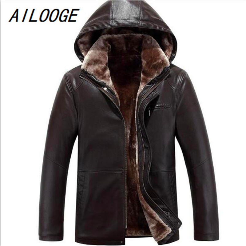 AILOOGE New Fashion S--4XL HOT 2017 Winter Men New Leisure Fashion Removable Cap Sheepskin Fur One Jacket