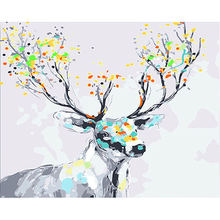 WEEN Abstract Deer DIY Framed Oil Painting By Numbers Animal Pictures Canvas For Living Room Horse Wall Art Home Decor
