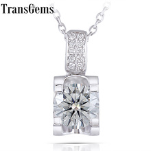 Transgems Moissanite Sterling Pendant Necklace for Women Platinum Plated Silver 1ct 6.5MM H Color with Accents