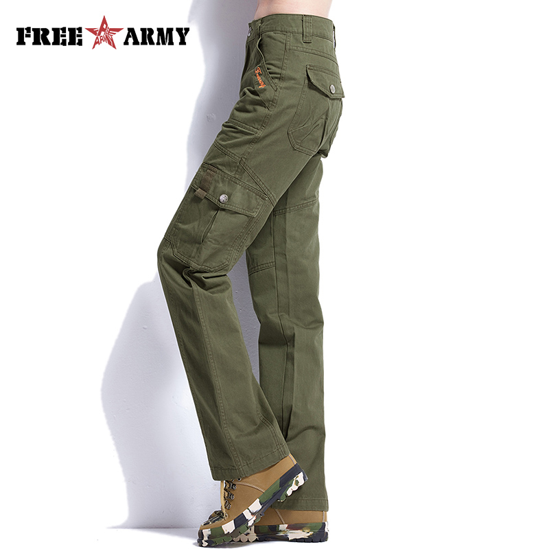 FreeArmy Brand Army Green Pants Mujeres Safari Pantalones de carga Pantalones militares regulares Earthy Yellow Pantalones rectos casuales femeninos