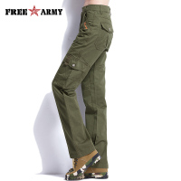 FreeArmy Brand Army Green Pants Women Safari Cargo Pants Regular Military Trousers Earthy Yellow Casual Straight Pants Female