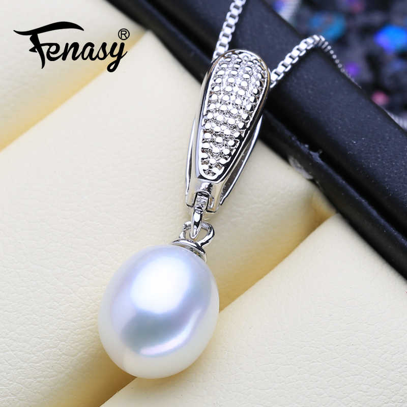 FENASY Genuine Natural Freshwater Pendant Necklace For Women Fashion 925 Sterling Silver Chain Necklace With Pearl Jewelry