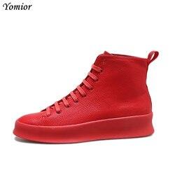 2018 Primavera Novo Estilo de Moda do Tornozelo Botas Sapatos Feitos À Mão de Couro Genuíno Dos Homens Vermelho Branco Botas de Luxo Personalizado Projeto Original