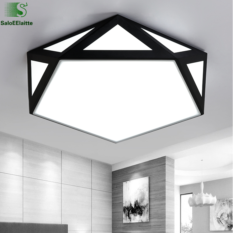 Nordic Geometry Metal Led Ceiling Lights Lustre Acrylic Bedroom Led Ceiling Lamp Dimmable Led Ceiling Lighting Light Fixtures american retro iron e27 led ceiling lights lustre glass bedroom led ceiling lamp balcony led ceiling lighting light fixtures